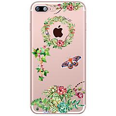 Недорогие Кейсы для iPhone-Кейс для Назначение Apple iPhone X iPhone 8 Plus Прозрачный С узором Кейс на заднюю панель Цветы Мягкий ТПУ для iPhone X iPhone 8 Pluss