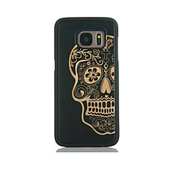 For Samsung Galaxy S7 edge S6 Case Cover Skull Pattern Case Back Cover Case Hard Bamboo and PC Material Combination S7 S6 edge