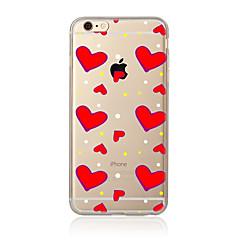 Недорогие Кейсы для iPhone 5-Для Прозрачный С узором Кейс для Задняя крышка Кейс для С сердцем Мягкий TPU для AppleiPhone 7 Plus iPhone 7 iPhone 6s Plus/6 Plus iPhone