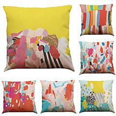 """hesapli -6 renkli grafiti desenli keten ev ofis kanepe kare dekoratif yastık kılıfı seti (18 """"* 18"""")"""