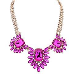 Ожерелья с подвесками Драгоценный камень Стекло Имитация Алмазный Сплав Euramerican Мода Белый Темно-синий Розовый с красным Темно-зеленый