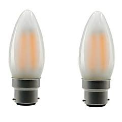 preiswerte LED-Birnen-ONDENN 2pcs 4W 350lm E26 / E27 B22 LED Glühlampen CA35 4 LED-Perlen COB Abblendbar Warmes Weiß 85-265V