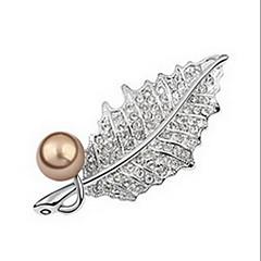 Dame Brocher Perle Lyserød Natur Perle Imiteret Perle Guld perle Sort perle Legering Bladformet Smykker Til Daglig