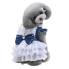 halpa -Koira Hameet Koiran vaatteet Klassinen Sievä Muoti Englantilainen Tumman sininen Vaalean sininen Asu Lemmikit