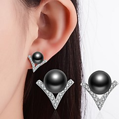 cheap Multicolor Pearl Collection-Women's Stud Earrings - Imitation Pearl, Rhinestone, Black Pearl Classic White / Black For Wedding / Party / Special Occasion