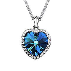 Жен. Ожерелья с подвесками Кристалл Синтетический сапфир В форме сердца Платиновое покрытие Австрийские кристаллы Любовь Мода европейский
