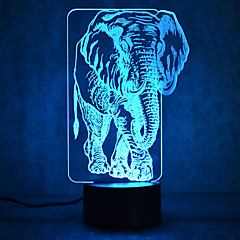 abordables Luces USB-1 pieza Luz nocturna 3D Múltiples Colores USB Con Sensor Regulable Impermeable Color variable