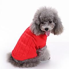 Pisici Câini Pulovere Îmbrăcăminte Câini Iarnă Solid Drăguț Modă Crăciun Anul Nou Rosu Verde Albastru Roz Albastru Deschis