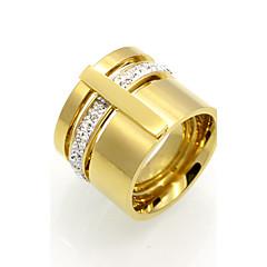preiswerte Ringe-Herrn Kubikzirkonia Bandring - 18K vergoldet, Kubikzirkonia, Titanstahl Personalisiert, Geometrisch, Retro 6 / 7 / 8 Gold / Silber Für Hochzeit / Party / Besondere Anlässe