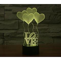 Sevgililer günü dört aşk 3d ışıklar renkli dokunmatik görsel üç boyutlu enerji tasarruf degrade lamba