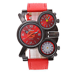 お買い得  大特価腕時計-男性用 軍用腕時計 クォーツ 3タイムゾーン クール レザー バンド ハンズ ブラック / レッド / ネービー - レッド ブルー シルバー / レッド 1年間 電池寿命 / SSUO LR626