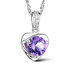 Жен. Ожерелья с подвесками Кристалл В форме сердца Стерлинговое серебро Австрийские кристаллы Любовь Мода Euramerican Лиловый Бижутерия