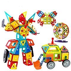 أحجار البناء كتل المغناطيسية المغناطيسي بناء مجموعات ألعاب تربوية ألعاب مربع دائري مثلث 3D هدية للأولاد الأطفال فتيات صبيان 128 قطع