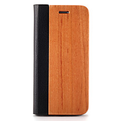 voordelige iPhone 6s Plus hoesjes-Voor Hoesje cover Kaarthouder met standaard Origami Magnetisch Volledige behuizing hoesje Effen kleur Hard Hout voor AppleiPhone 7 Plus