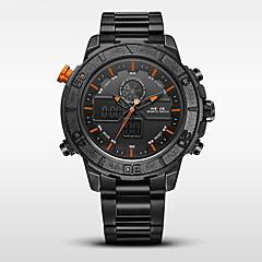 お買い得  大特価腕時計-WEIDE 男性用 スポーツウォッチ / 軍用腕時計 日本産 アラーム / カレンダー / 耐水 ステンレス バンド ブラック / LCD / 2タイムゾーン / ストップウォッチ / 2年 / Maxell SR626SW + CR2025