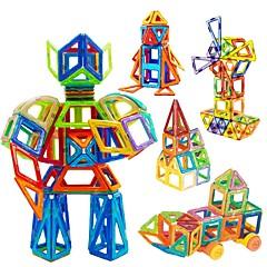 billige Byggeblokker-Byggeklosser Magnetisk blokk Magnetisk byggesett Pedagogisk leke Leketøy Kvadrat Sirkelformet Trekant 3D Magnetisk Gutter Jente 98 Deler