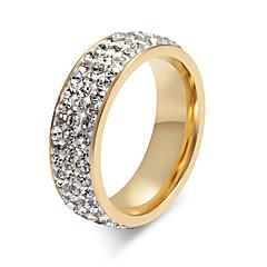preiswerte Ringe-Damen Kristall Ring - Titanstahl Personalisiert, Grundlegend, Modisch 5 / 6 / 7 / 8 / 9 Gold / Silber Für Party Jahrestag Geburtstag