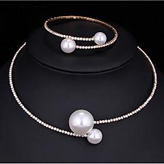 tanie Biżuteria damska-Damskie Cyrkonia Biżuteria Ustaw - Modny Zawierać Perlový náhrdelník Silver Na Ślub / Impreza / Zaręczynowy