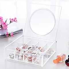 Espejo Caja de Cosméticos Others Almacenamiento de Maquillaje Un Color Cuadrado Acrílico Transparentes