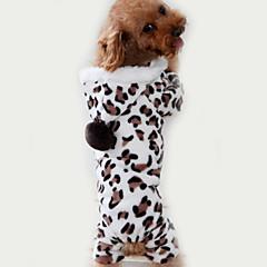 お買い得  犬用ウェア&アクセサリー-ネコ 犬 ジャンプスーツ パジャマ 犬用ウェア レオパード Brown フリース コスチューム ペット用 男性用 女性用 キュート カジュアル/普段着