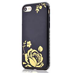 Для позолоченного цветочного узора сторона горный хрусталь функция зеркала мягкий чехол для телефона tpu для iphone 7 плюс 7 6 с плюс 6 с