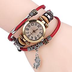 preiswerte Herrenuhren-Damen damas Armband-Uhr Quartz Cool Leder Band Analog Freizeit Schwarz / Weiß / Blau - Kaffee Braun Rot
