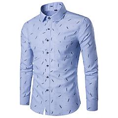 Недорогие Мужские рубашки-Муж. С принтом Рубашка Классический воротник Тонкие Геометрический принт / Длинный рукав