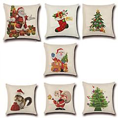 7 szt Cotton / Linen Pokrywa Pillow Poszewka na poduszkę,Nowość Modny Święta Bożego NarodzeniaRetro Tradycyjny / Classic Euro Święta