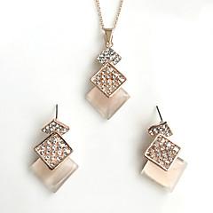 Naisten Korusetti jäljitelmä Opal Yksinkertainen pukukorut Metalliseos Square Shape 1 Kaulakoru 1 Pari korvakoruja Käyttötarkoitus Häät