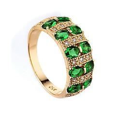 お買い得  指輪-女性用 指輪 合成エメラルド ダークグリーン ジルコン 合金 その他 ユニーク 欧米の ファッション 結婚式 パーティー 記念日 コスチュームジュエリー