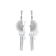 preiswerte Ohrringe-Damen Tropfen-Ohrringe Kubikzirkonia Luxus Geometrisch Strass Natur Freundschaft Handgemacht Gothic USA Zirkon Kupfer Geometrische Form