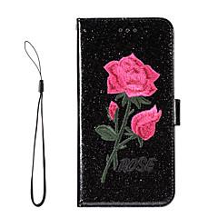 Недорогие Кейсы для iPhone 5-Кейс для Назначение Apple iPhone 7 Plus iPhone 7 Бумажник для карт Кошелек со стендом Флип Чехол Цветы Сияние и блеск Твердый Кожа PU для