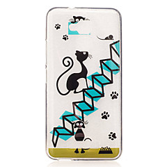 Voor asus zenfone 3 max zc520tl case cover cartoon kat patroon back cover soft tpu