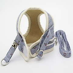 お買い得  犬用首輪/リード/ハーネス-ネコ 犬 ハーネス リード 調整可能 フラワー ファブリック イエロー ブルー ピンク