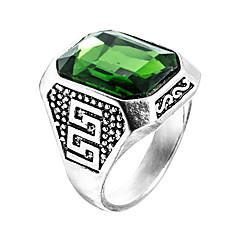 Herre Ring Syntetisk Emerald Unikt design Mode Euro-Amerikansk Zirkonium Smaragd Legering Smykker Smykker Til Bryllup Speciel Lejlighed