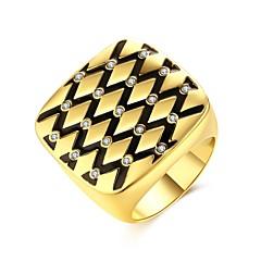Férfi Női Gyűrű Kocka cirkónia Alap Karika Egyedi Természet Geometriai Kör Barátság minimalista stílusú Brit Crossover Divat Régies