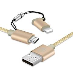 abordables Cables y Adaptadores para Teléfono-All-In-1 Iluminación Micro USB Adaptador de cable USB Portátil Trenzado 1 a 2 Cable Para iPad Samsung Huawei LG Lenovo Motorola Xiaomi