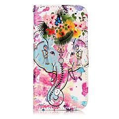 Недорогие Кейсы для iPhone 5-Кейс для Назначение Apple iPhone 7 / iPhone 7 Plus Кошелек / Бумажник для карт / со стендом Чехол Слон / Цветы Твердый Кожа PU для iPhone 7 Plus / iPhone 7 / iPhone 6s Plus