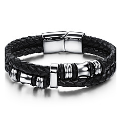 Men's Leather Bracelet Punk Hip-Hop Rock Costume Jewelry Fashion Vintage Genuine Leather Leather Stainless steel Circle Round Geometric