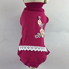 お買い得  犬用ウェア&アクセサリー-ネコ 犬 Tシャツ ジャンプスーツ パジャマ パンツ 犬用ウェア 花/植物 ローズ グリーン コットン コスチューム ペット用 男性用 女性用 カジュアル/普段着