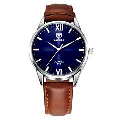 お買い得  メンズ腕時計-YAZOLE 男性用 リストウォッチ カジュアルウォッチ レザー バンド ハンズ カジュアル ブラック / ブラウン - ブラック Brown 1年間 電池寿命