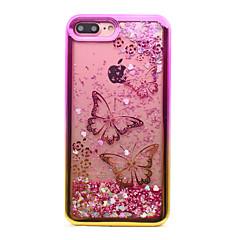 Недорогие Кейсы для iPhone 7 Plus-Кейс для Назначение Apple iPhone 8 iPhone 8 Plus Покрытие Движущаяся жидкость С узором Кейс на заднюю панель Бабочка Сияние и блеск Мягкий
