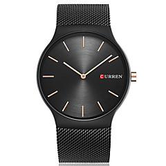 お買い得  メンズ腕時計-CURREN 男性用 リストウォッチ クール / 大きめ文字盤 ステンレス バンド ぜいたく / カジュアル / ファッション ブラック / ゴールド / 2年 / Maxell SR626SW
