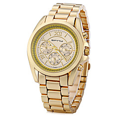 preiswerte Herrenuhren-Herrn Modeuhr / Einzigartige kreative Uhr / Simulierter Diamant Uhr Chinesisch Großes Ziffernblatt Metall Band Glanz Weiß / Gold / Rotgold