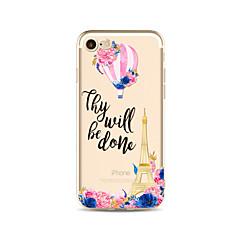 Недорогие Кейсы для iPhone 4s / 4-Кейс для Назначение Apple iPhone X iPhone 8 Plus Прозрачный С узором Задняя крышка Слова / выражения Эйфелева башня Цветы Мягкий TPU для