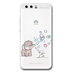 olcso Huawei tokok-Case Kompatibilitás Huawei Átlátszó Minta Hátlap Rajzfilm Elefánt Puha TPU mert P10 Plus P10 P9 P9 Lite P9 Plus P8 P8 Lite