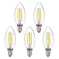 preiswerte LED-Birnen-BRELONG® 5 Stück 4W 350lm E14 LED Glühlampen C35 4 LED-Perlen COB Warmes Weiß Weiß 220-240V