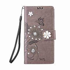 Для xiaomi mi 6 redmi 3s случай стразы магнитный рельефный узор бабочка цветок pu кожаный чехол