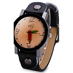 preiswerte Damenuhren-Damen Quartz Armbanduhr Chinesisch Großes Ziffernblatt Leder Band Einzigartige kreative Uhr Modisch Cool Schwarz Weiß