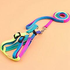お買い得  犬用首輪/リード/ハーネス-ネコ 犬 ハーネス リード 携帯用 高通気性 折り畳み式 安全用具 調整可能 カラーブロック 虹色 ナイロン 虹色